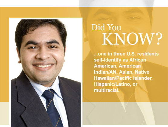 One in three U.S. residents self-identify as African American, American Indian/AN, Asian, Native Hawaiian/Pacific Islander, Hispanic/Latino, or multiracial. By 2050, this number will likely be one in two.
